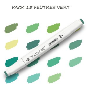 Pack de 15 Feutres Vert 1