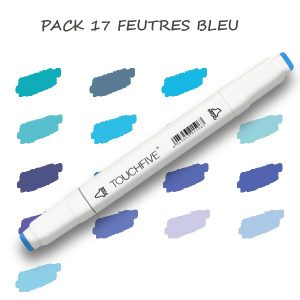 Pack de 17 Feutres Bleu 1