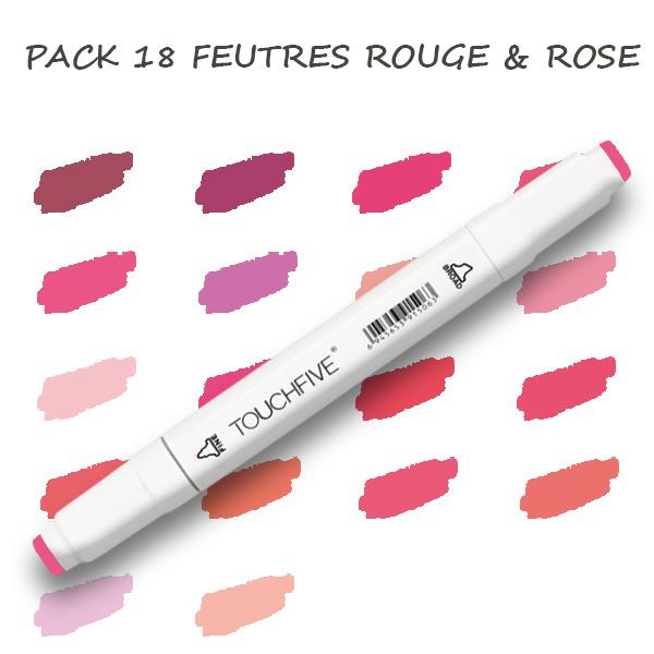 Pack de 18 Feutres Rouge & Rose