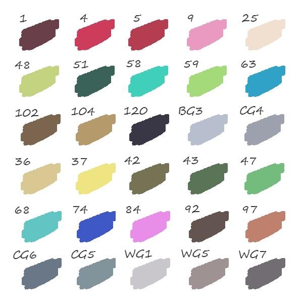 palette de couleur 30 feutres animation